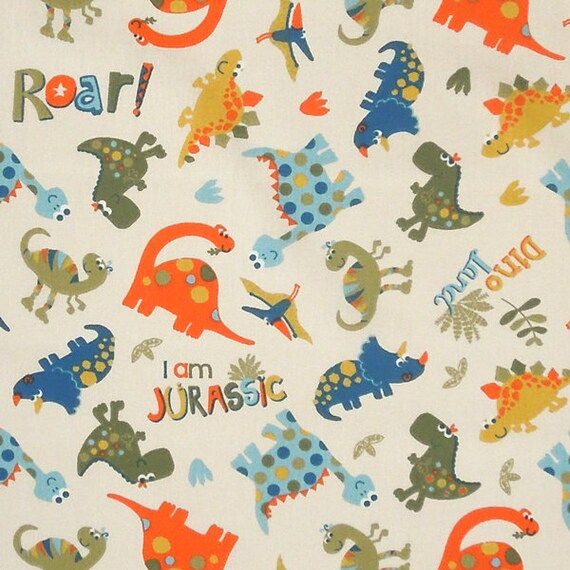 Cream dinosaur fabric kids fun dino land cotton fabric for Dinosaur fabric