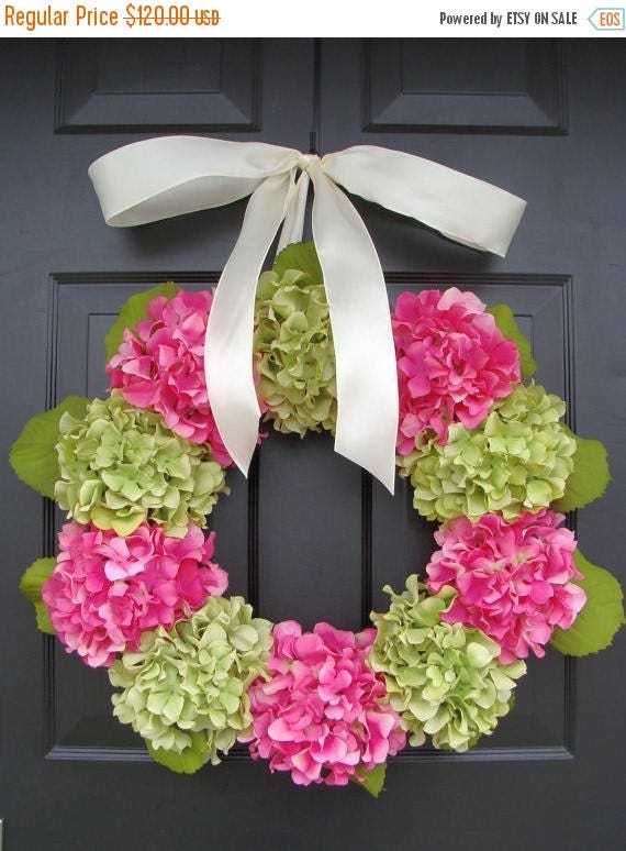 SPRING WREATH SALE Outdoor Hydrangea Summer Wreath- Custom Hydrangea Wreath- Spring Wreath for Door- Custom Colors