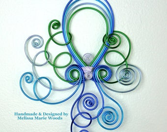Aqua Marine Octopus - Handmade Wall hanging