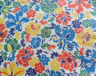 1950s Fabric, Cotton Fabric, Vintage Fabric, Floral Fabric, Multi Color Fabric, Blue Floral fabric, Yellow Fabric, Red Floral Fabric