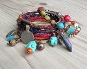 Silk Road Gypsy Bangle Stack - Baqubah - 7 Piece Set, Bohemian Tribal Bracelets, Colorful, Bollywood, Silk Wrapped