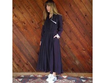 Dark Purple l/s Maxi Shirt Dress - Vintage 80s - S