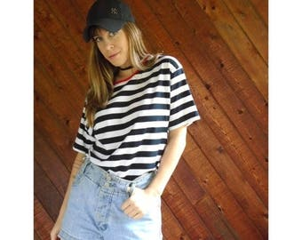 25% off Flash Sale . . . Prep Stripe ABERCROMBIE Ringer Tee Shirt - Vintage 90s - S