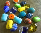 Ten Matched Pairs Vintage Glass Stones 18x13mm Summertime Hues July Picnic Assortment