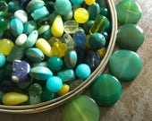 Huge Lot of Stone Beads Agate Quartz Jade Turquoise Glass and More Cutting Garden Greens