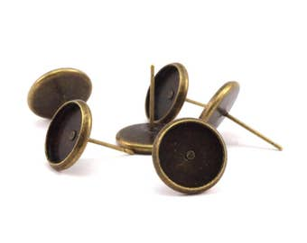 Iron Post Bronze Pad, 50 Antique Bronze Earring Posts 10mm Pad, Ear Studs D192