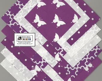"40~4"" inch  Purple_White Fabric Squares/Quilt/Craft/Sewing/Charm Packs #0834"
