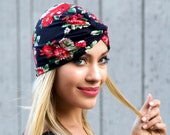 Turban Hat Flirty Floral Hair Snood Doo Rag Chemo Cap Hair Covering Skullcap Full Turban Retro Accessory Stretch Turban Hat Summer Beach Hat