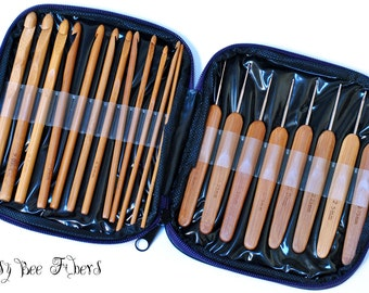 20 Pieces Bamboo Crochet Hook Set with Case