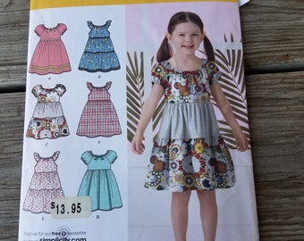 Simplicity 2377 Girls Dress with ruffles, Peasant dress style, pattern, uncut, size 3-8