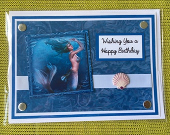 Mermaid Card, Birthday Card, Handmade Card, Handmade Mermaid, Mermaids