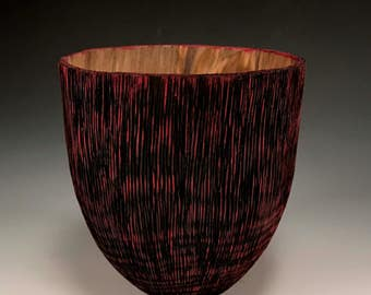 Handmade Home Decor - Wood Bowl - Textured  Sycamore Wood - Rapture - Red