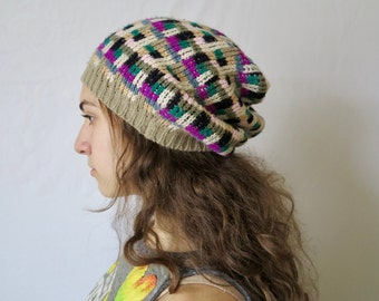 Block Print Colorful Pattern Recycled Sweater Slouchy Tam Hat Beanie By MountainGirlClothing