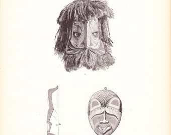1882 Native American Indian Print - New Ireland Mask - Antique Art Illustration Book Plate History Archaeology Ethnology 100 Years Old