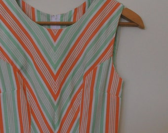 stripes in orange and green...vintage fabric 1950s style tea dress