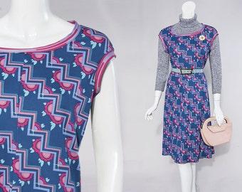 60s Anne Fogarty blue & pink geo daisy dress | size medium-large
