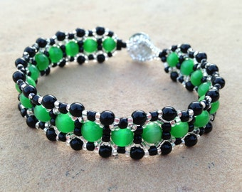 Bracelet - Emerald Green, Black, and Silver - Metal Free