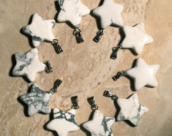 Petite Howlite Star Pendant - High Vibrational Stone