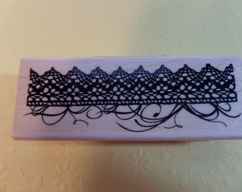 Inkadinkado Rubber Stamp Crocheted Lace Border Stamp with Threads