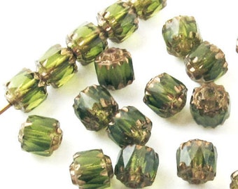 Faceted Czech Crown Cathedral Beads-OLIVE GREEN 6mm (25)