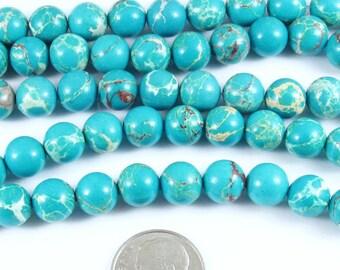 "Round Gemstone Beads-Blue Sea Sediment Imperial Jasper 15"" Strand 8mm (48)"