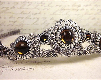 Silver Bridal Tiara, Smoked Topaz Glass, Renaissance Wedding, Medieval, Ren Faire, Festival, Tudor Costume, Bridal Headpiece, Choose a Color
