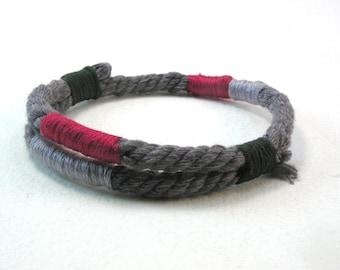 heather grey wrapped cotton bracelet handmade rope bracelet string bracelet 4084