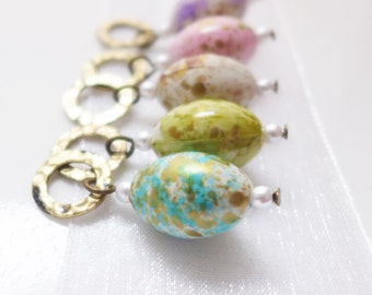 LAST SET - Easter Egg Roll - Five Handmade Stitch Markers - Fits Up To 6.5mm (10.5 US) - Limited Edition