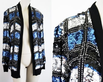 Black Blue and White Checkered Long Sleeve Open Front Lined Sequin Woman's Jacket