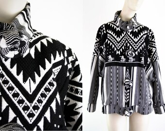 Black and White Print Oversize Button Down Zip Front Woman's Vintage Jacket