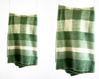 Retro Pale Green and Cream Color Extra Thick Vintage Plaid Wool Throw Blanket