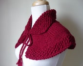 Knit Cape Outlander Inspired Collar Highlands Capelet Outlander Knits Shoulder Wrap In Cranberry Ready to Ship