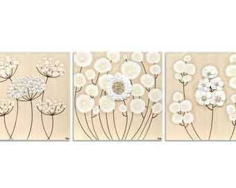 Neutral Wall Art White Flower Painting Triptych on Canvas - Textured Original Art - Medium 32x10