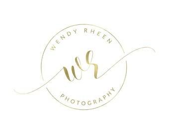 Gold Logo Round Logo Premade Logo Photography Logo Submark Round Watermark Photography Watermark Branding Lash Logo Makeup Artist Logo