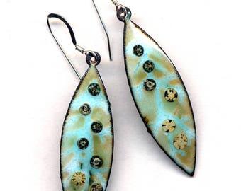 Enamel Earrings, Sterling Silver Earrings, Turquoise Beige Earrings, Long Leaf Aqua Teal Enamel Earrings, New Jewelry by AnnaArt