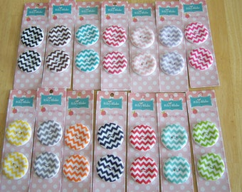 """Riley Blake 2-pack 1.5"""" round """"CHEVRON""""  Sew Together Carded Buttons Multi-colors"""