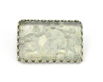 Intaglio Glass Brooch Children at Play