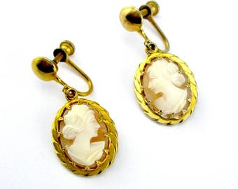 Cameo Shell Earrings Gold Plate Screw Back