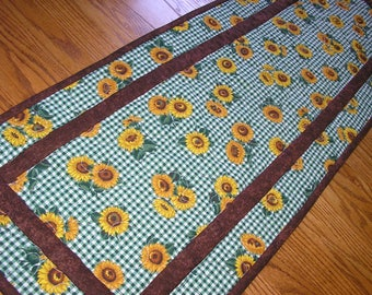 Quilted Table Runner, Green and Brown Sunflower Runner,   14 x 41 inches