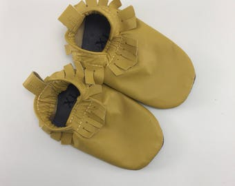 Studio Sale - Size XL Dark Yellow Leather baby moccasins on sale, size XL fits 18-24 months