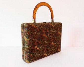 Vintage 1940's handbag // paisley velvet // Rare 40's tortoise handle purse