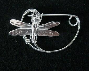 For Tara SILVER Dragonfly   broach pin Shawlpin Shawl pin
