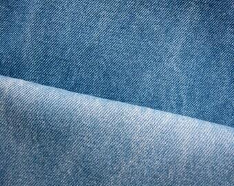 Denim Fabric - Washed Denim Fabric in Denim Blue / Light Blue - Half Yard - Available in Larger Yardage