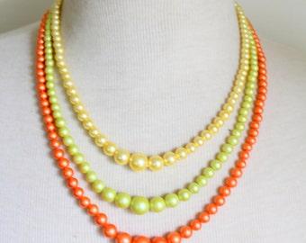 Vintage Multi Strand Necklace Orange Yellow Statement