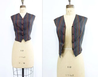 1950s Vintage Vest Silk Striped Vest 50s Fitted Waistcoat Multicolor Stripes 1950s Waistcoat Womens Striped Vest Silk Waistcoat medium