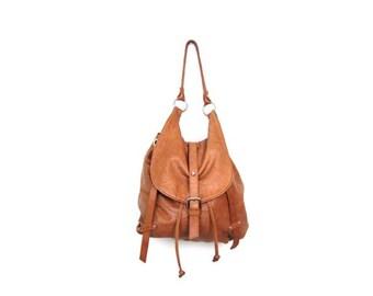 Vintage 90s Tan Leather TANO Shoulder Bag Slouchy Leather Boho Hobo Bag Hipster Top Handle Drawstring Bag Leather Knapsack