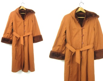 Long vintage Winter Coat Rust Orange Belted Trench coat 1970s Retro Rockstar Hipster Jacket Furry Hooded Maxi Coat Women's Small