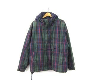 Plaid Pullover Jacket Hoodie Vintage 90s Casual Preppy Blue Green Plaid Ski Jacket Womens Medium