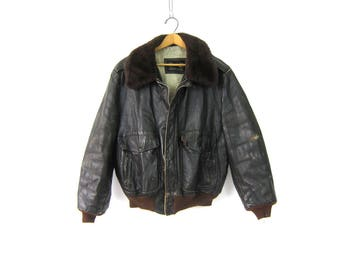 Brown Leather Bomber Coat Aviator Biker Jacket Sherpa Lined Motorcycle Jacket Furry Collar Vintage Flight Jacket GS Mens Size 45