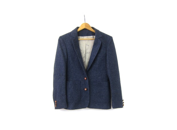 Vintage Blue Wool Blazer Fitted Oscar De La Renta Jacket Button Up Suit Jacket Preppy Fall Coat Modern Equestrian Size 8 Small